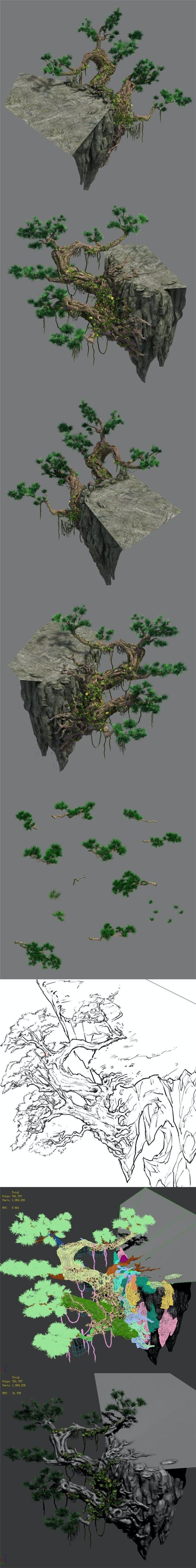Cliff side - pine - 3DOcean Item for Sale