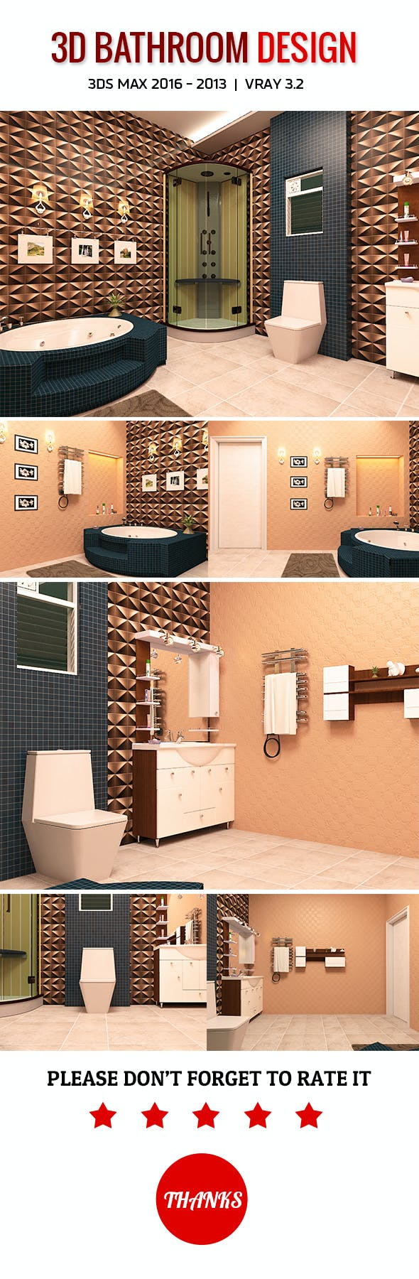 3D Bathroom Design - 3DOcean Item for Sale