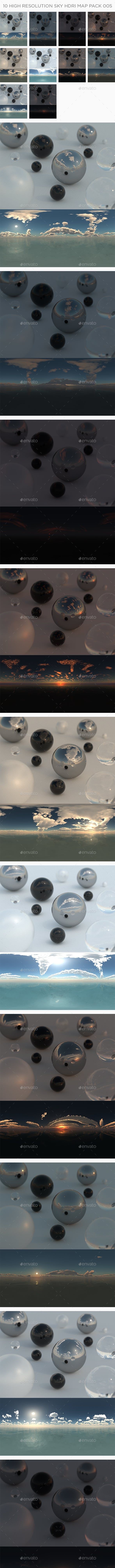 10 High Resolution Sky HDRi Maps Pack 005 - 3DOcean Item for Sale