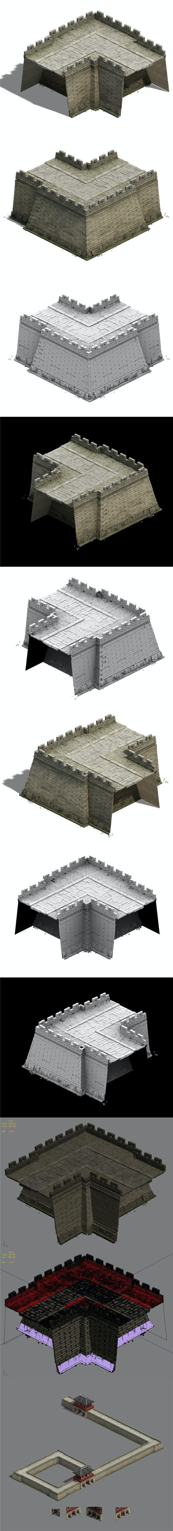 City Gate - City Wall - City Corner 02 - 3DOcean Item for Sale