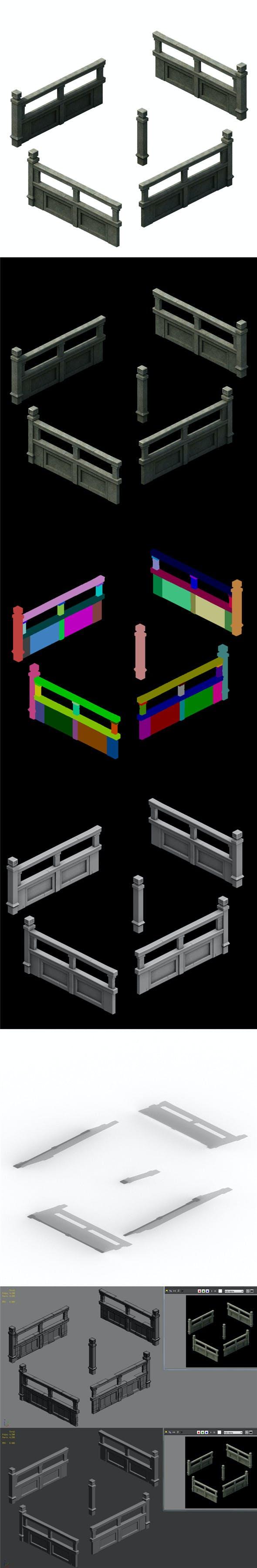Ancient building accessories - railings 01 - 3DOcean Item for Sale