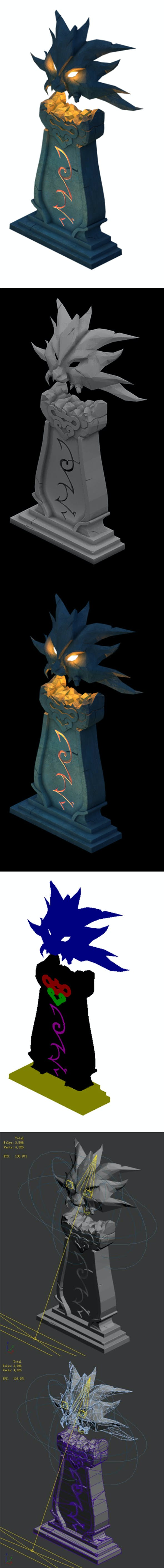 Ghost Candlestick - Stone statue - 3DOcean Item for Sale