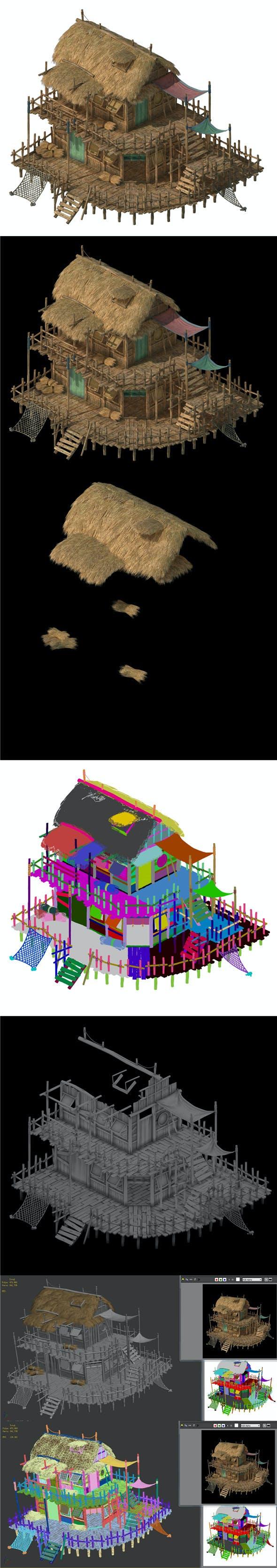Seaside building - fisherman thatched cottage 01 - 3DOcean Item for Sale