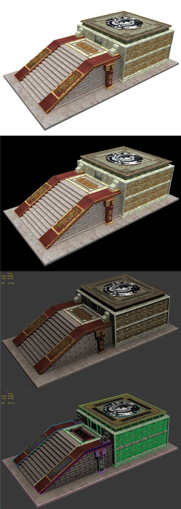Horizontal version of the building accessories - stairs altar - 3DOcean Item for Sale