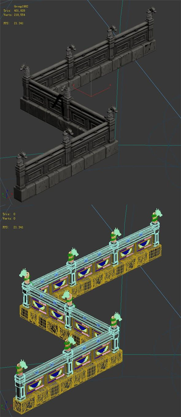 Huanglongshan - stone chamber railings - 3DOcean Item for Sale