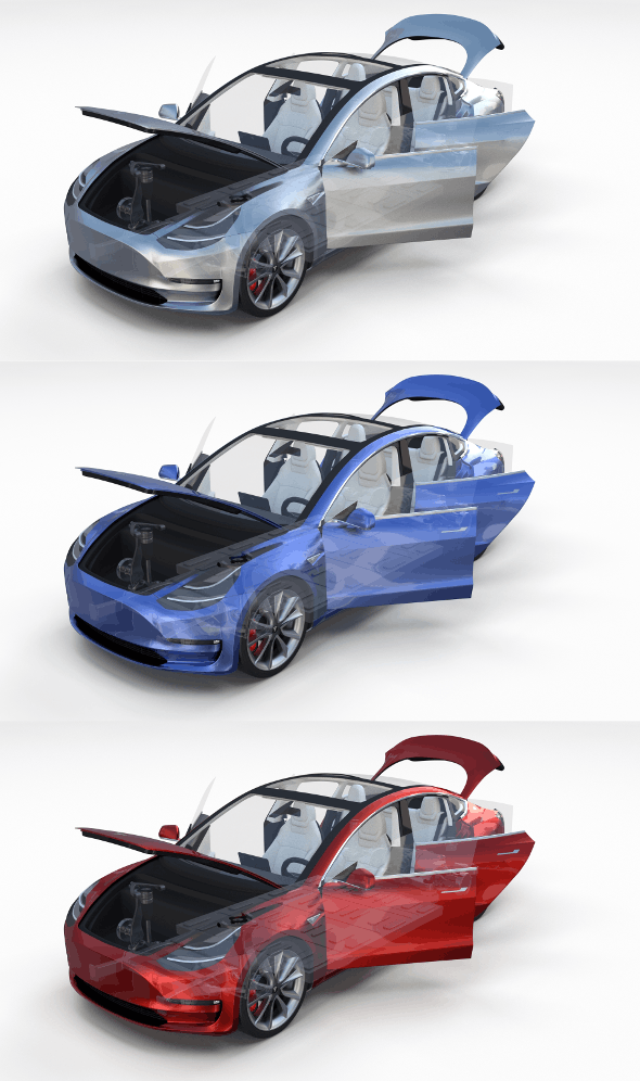 Tesla Model 3 with interior and chassis Pack - 3DOcean Item for Sale