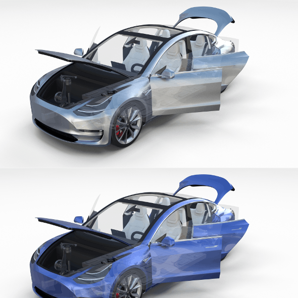 Tesla Model 3 with interior and chassis Pack