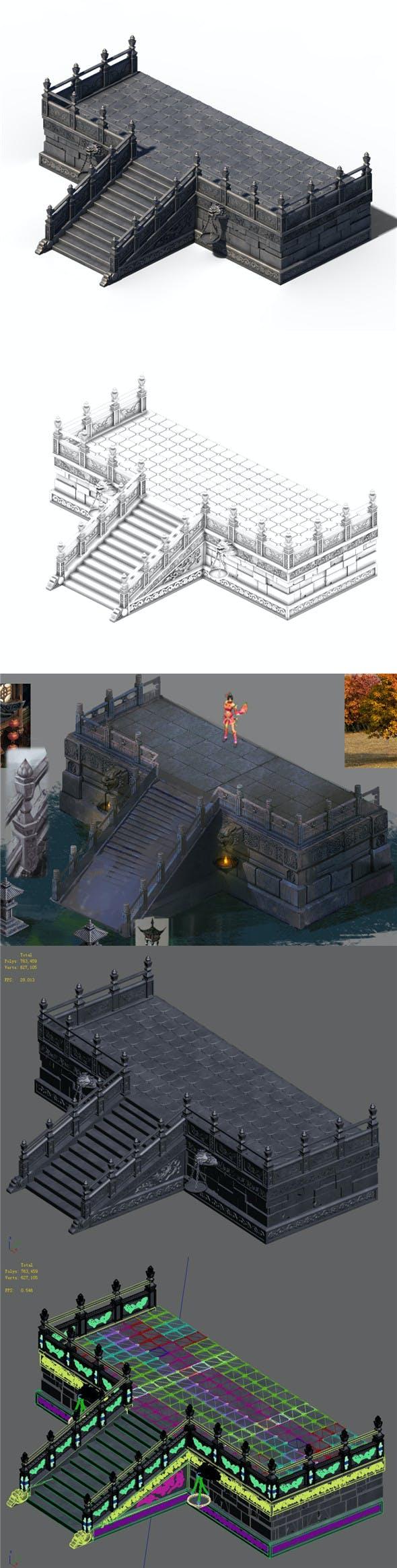 Building - Stairway Platform 01 - 3DOcean Item for Sale