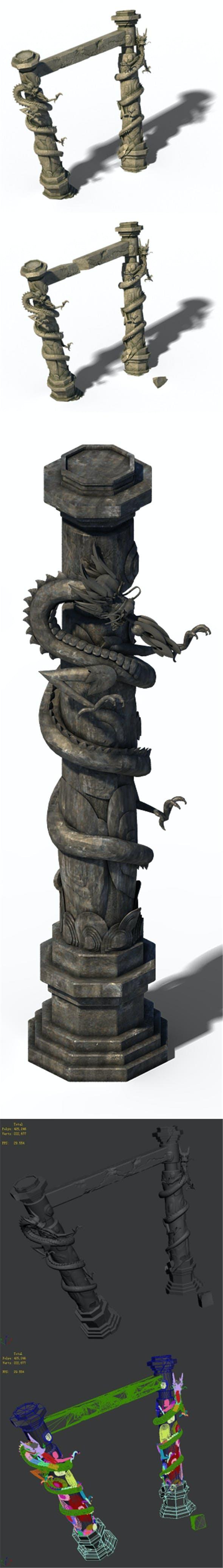 Building Decoration - Panlong Column 03 - 3DOcean Item for Sale