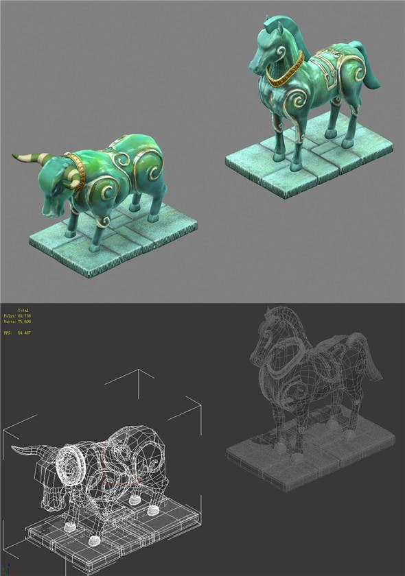 Cartoon World - Stone and Stone Horse 15 - 3DOcean Item for Sale