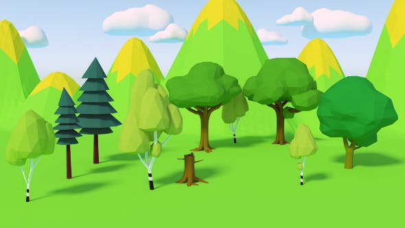 Types of trees low-poly - 3DOcean Item for Sale