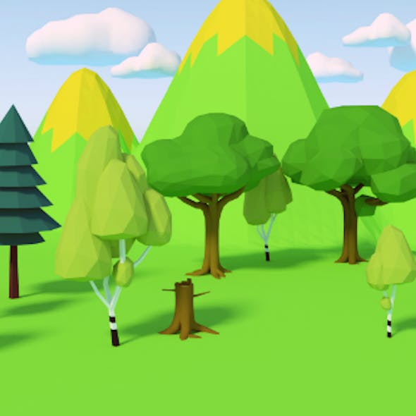 Types of trees low-poly