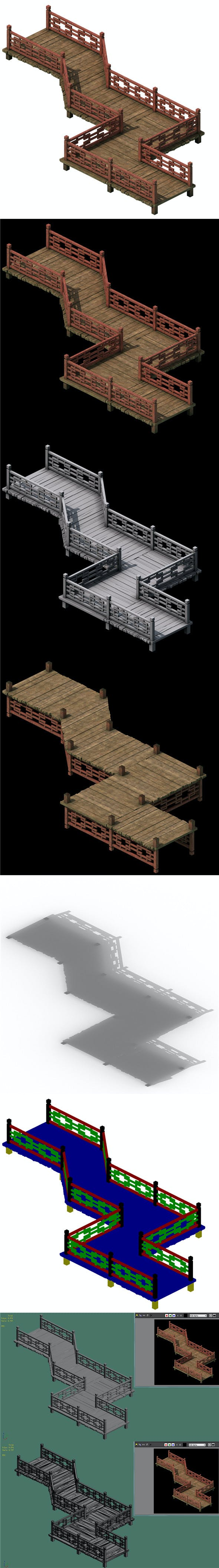 Wooden bridge - nine bridge - 3DOcean Item for Sale