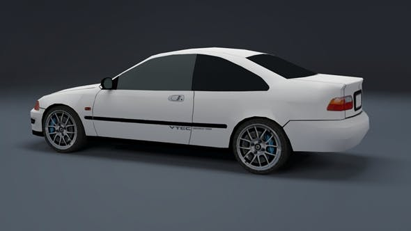 Low Poly Honda Civic EJ Coupe - 3DOcean Item for Sale