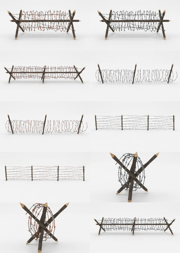 Barb Wire Obstacle Collection - 3DOcean Item for Sale