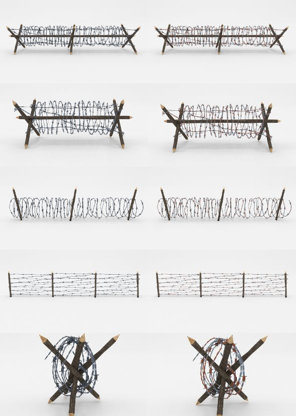 Lowpoly Barb Wire Obstacle Collection - 3DOcean Item for Sale