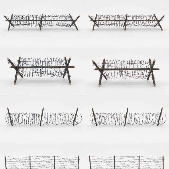 Lowpoly Barb Wire Obstacle Collection