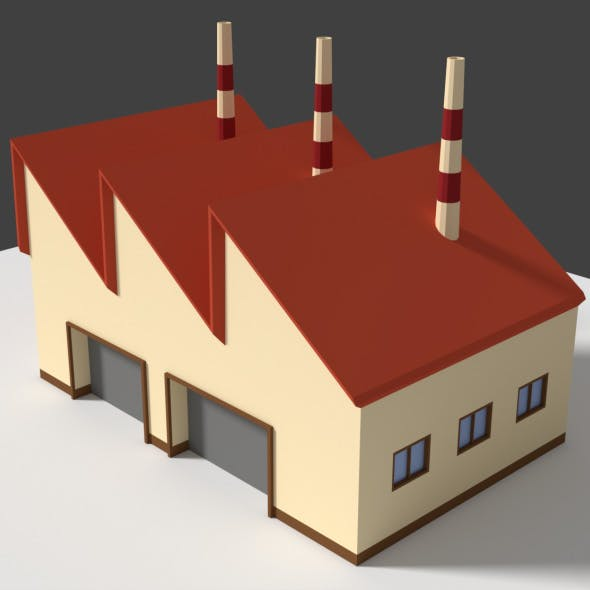 Low Poly Cartoon Factory 5 - 3DOcean Item for Sale