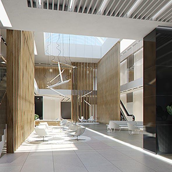 Lobby Hall Foyer Office commercial business scene interior (Render Ready)