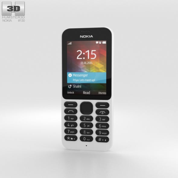 Nokia 215 White - 3DOcean Item for Sale