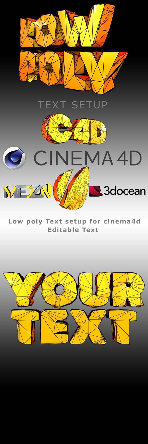 Low Poly Text - 3DOcean Item for Sale