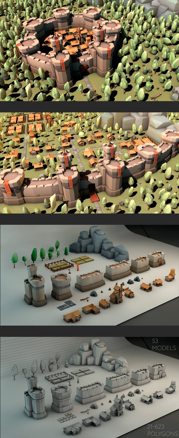 Low Poly Medieval Constructor - 3DOcean Item for Sale