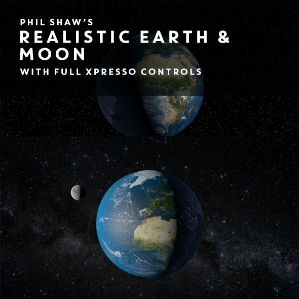 Realistic Earth & Moon with full Xpresso Control