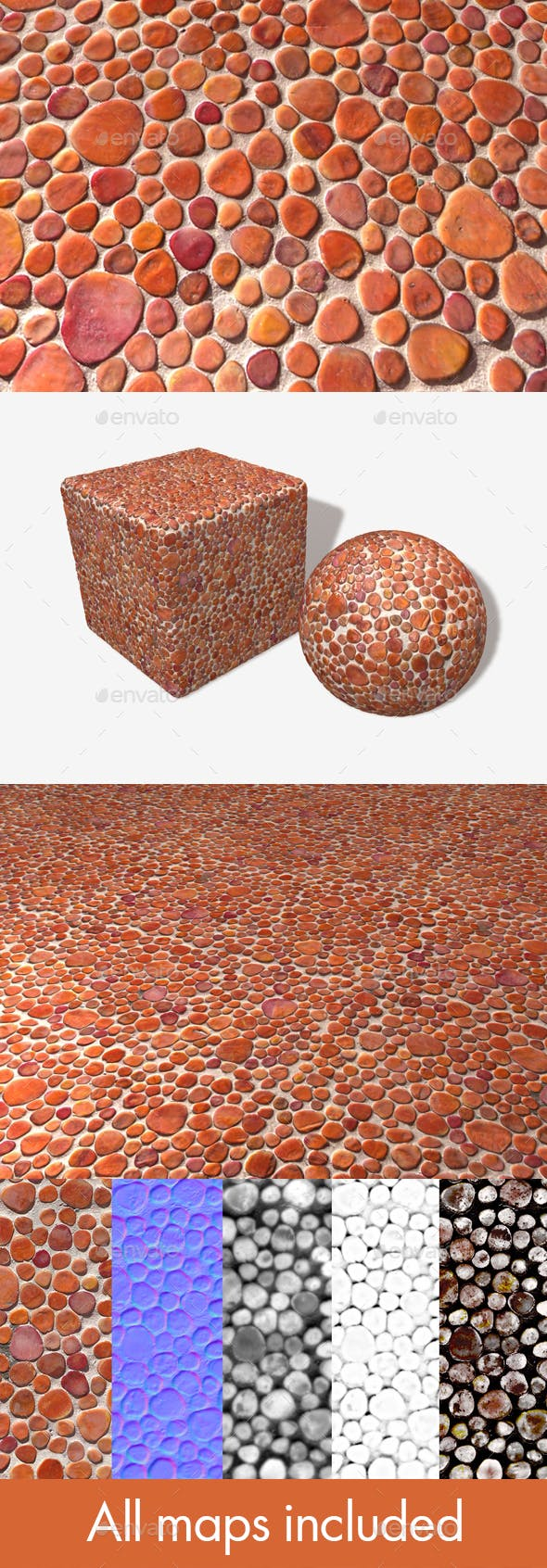 Orange Stone Mosaic Decoration Texture - 3DOcean Item for Sale