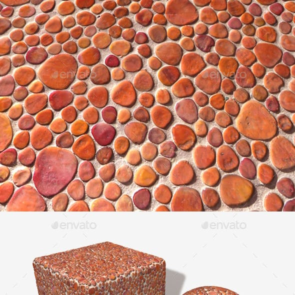 Orange Stone Mosaic Decoration Texture