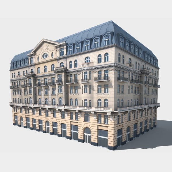 Neoclassical Hotel Low Poly