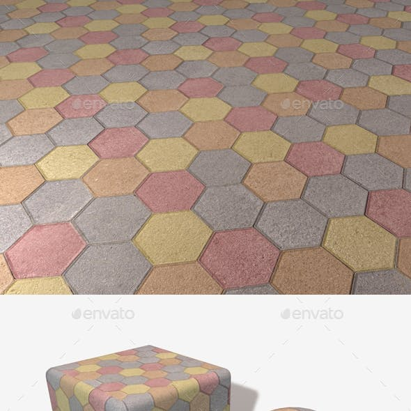 Colourful Hexagon Paving Slabs Texture