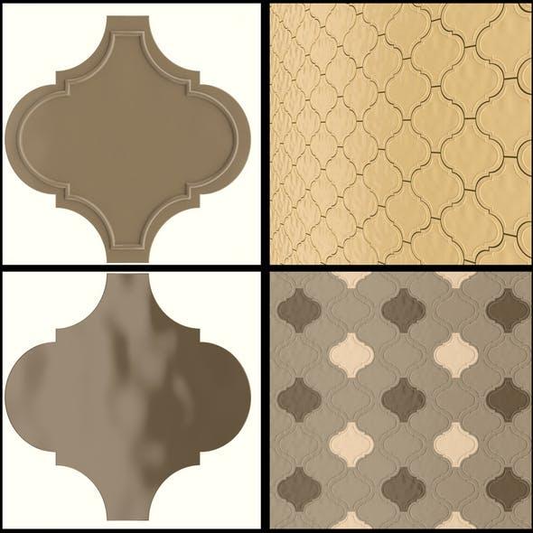 Decorative designer tiles Dec_Arabesque_Tufo - 3DOcean Item for Sale