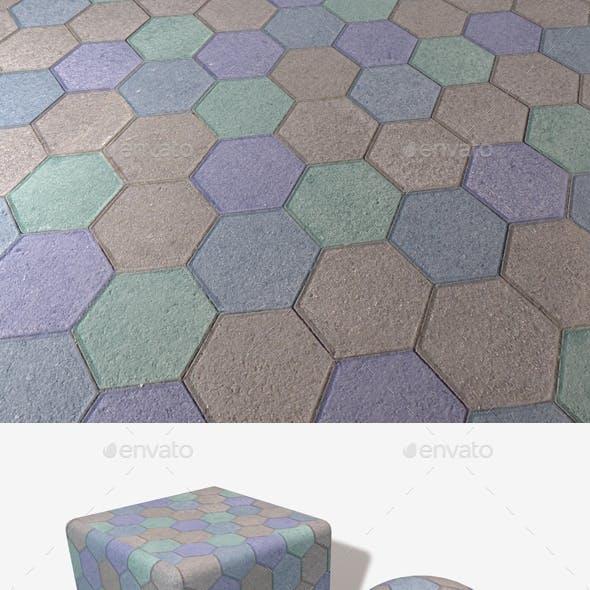 Blue Hexagon Paving Slabs Texture
