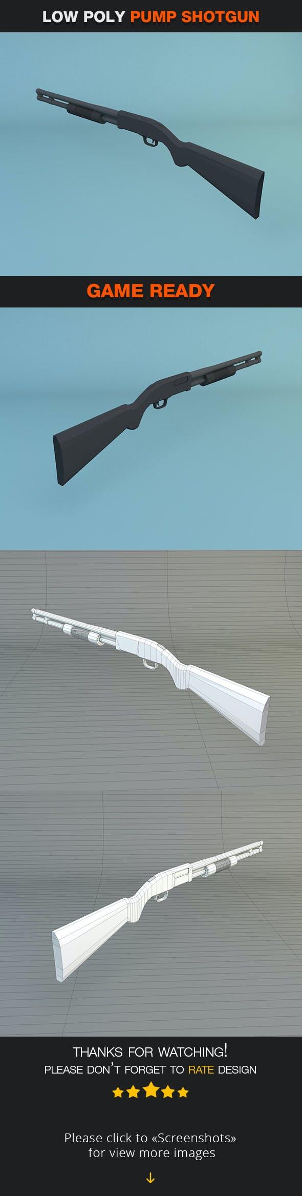 Low Poly Pump Shotgun - 3DOcean Item for Sale