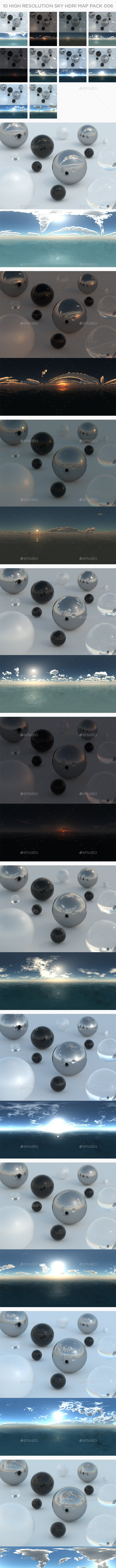 10 High Resolution Sky HDRi Maps Pack 006 - 3DOcean Item for Sale