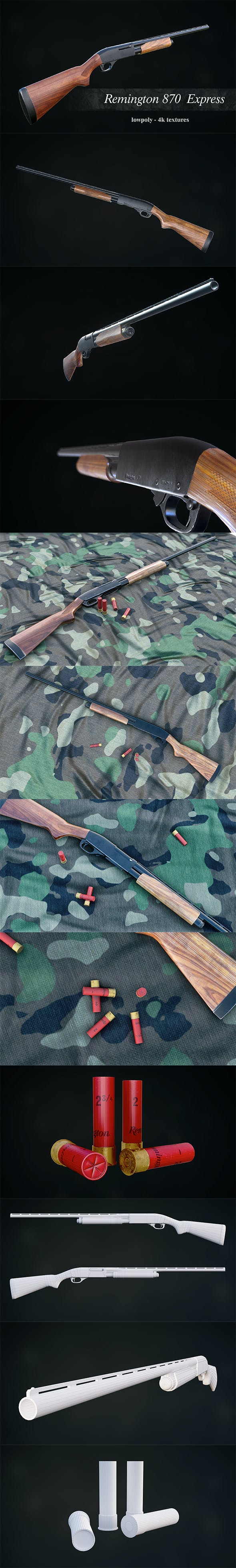 Low Poly Remington 870 Express - 3DOcean Item for Sale