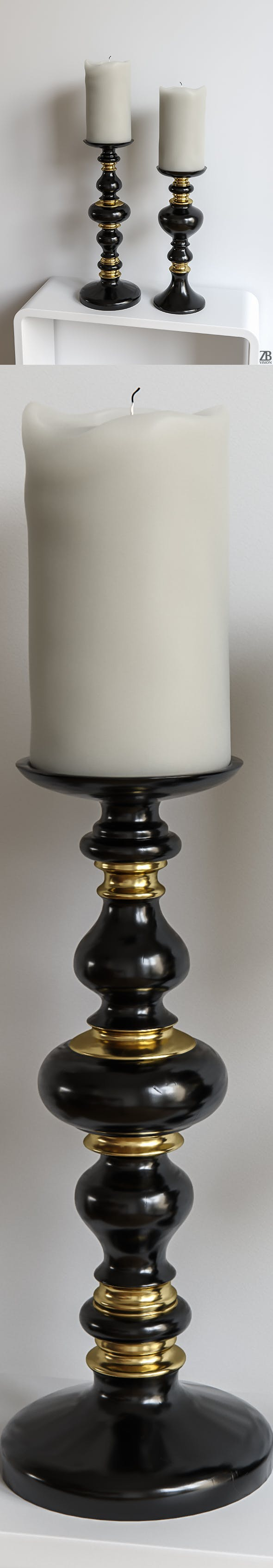 Z Gallerie Emerson Pillar Candle Holder - 3DOcean Item for Sale