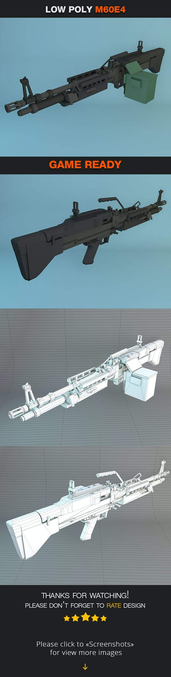 Low Poly M60E4 - 3DOcean Item for Sale
