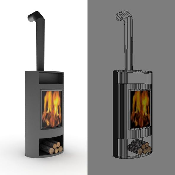 Portative Mobile Fireplace - 3DOcean Item for Sale