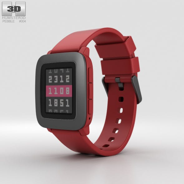 Pebble Time Red - 3DOcean Item for Sale