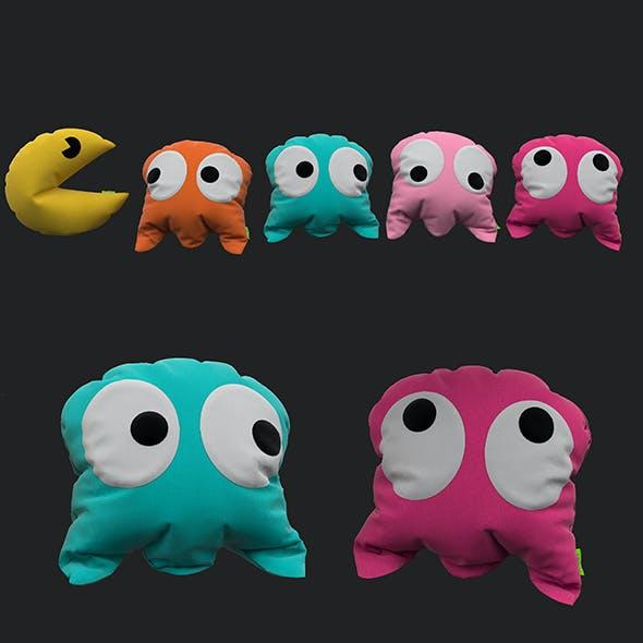 Pacman pillow set 3D model