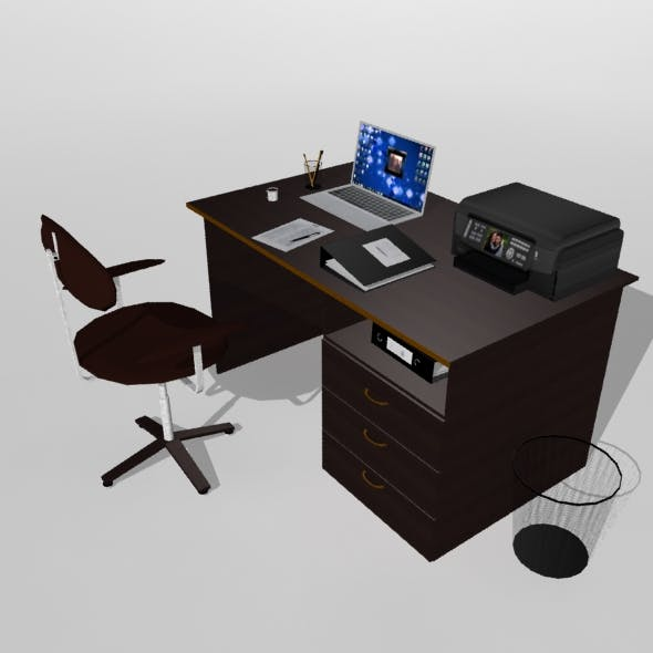 Office Table With Attributes - 3DOcean Item for Sale
