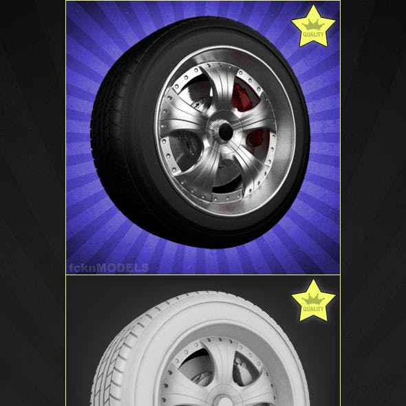 High detailed 3D model of car wheel 03