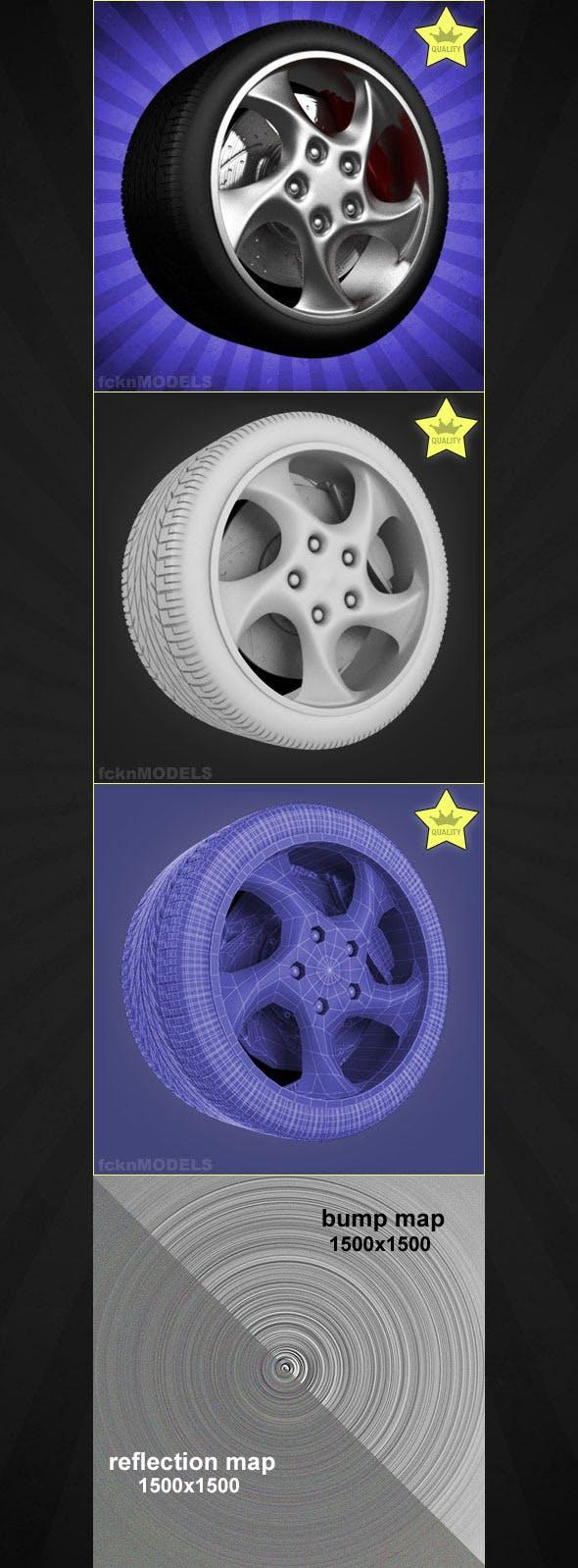 High detailed 3D model of car wheel 46 - 3DOcean Item for Sale