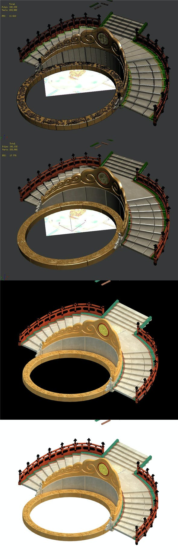 Semi-circular staircase - center platform - 3DOcean Item for Sale