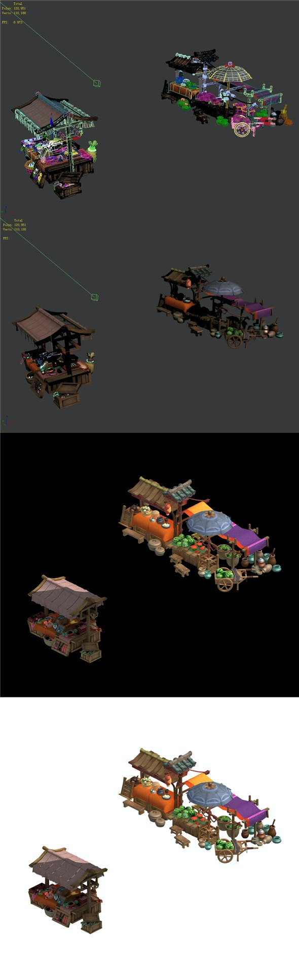 Buns fruit stalls - jewelry stalls - 3DOcean Item for Sale