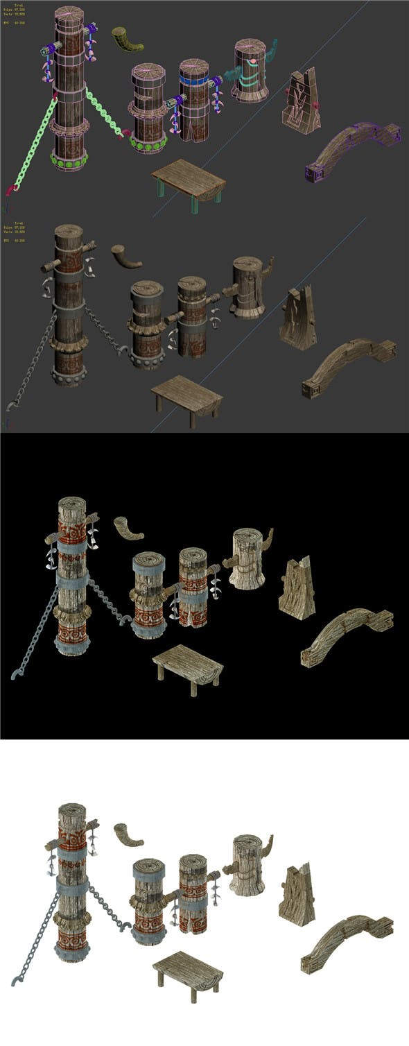 Comparable station - pillar accessories - 3DOcean Item for Sale