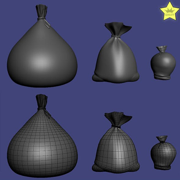 3D models of 3 sacks