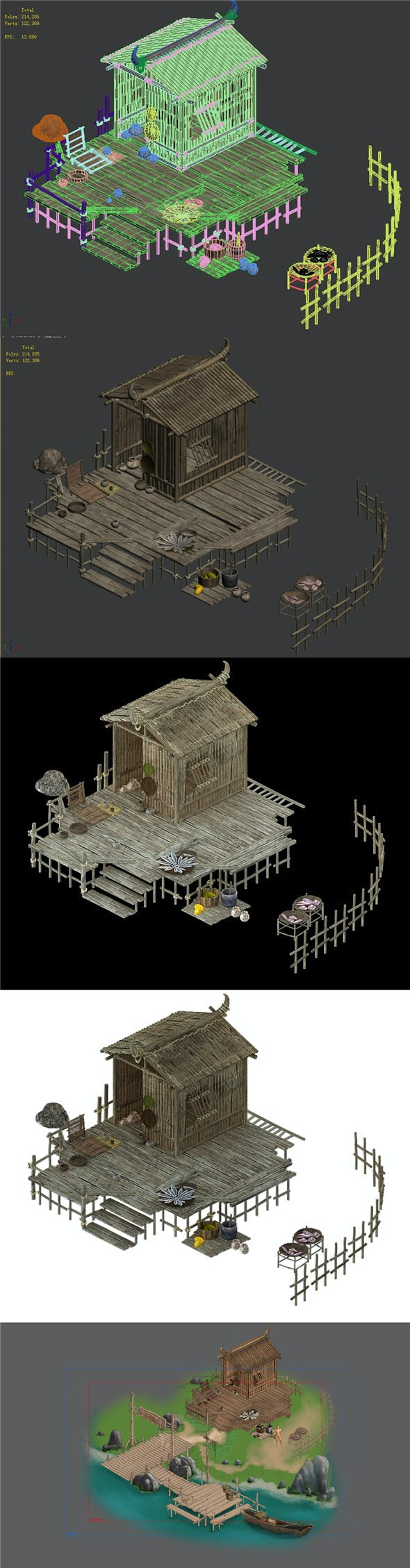 Cangwu Mountain Tribe - Ferry - House - 3DOcean Item for Sale