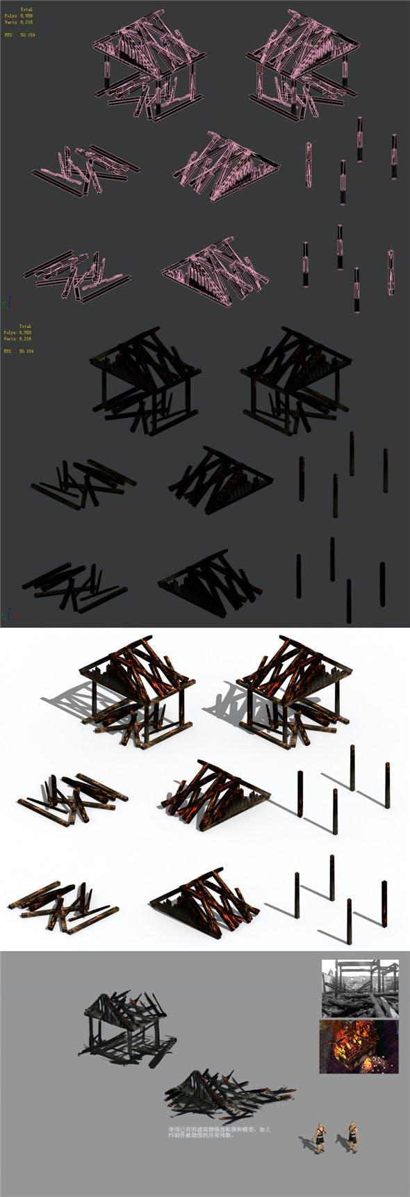 Burned - house - 3DOcean Item for Sale